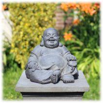 Tuinbeeld Happy Boeddha donker klein