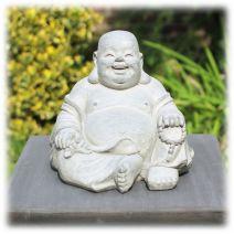 Tuinbeeld Happy Boeddha licht klein
