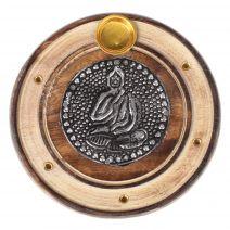 Boeddha wierookhouder mangohout rond