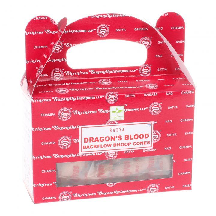 Nag Champa Dragons Blood backflow wierook kegels