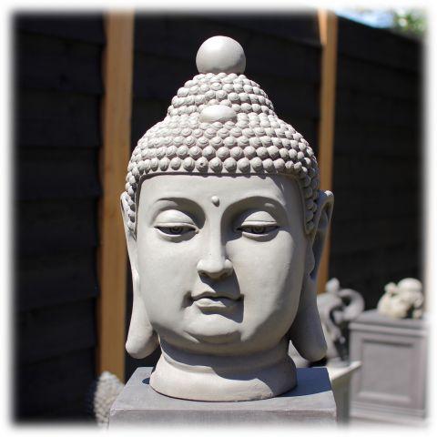 Tuinbeeld Boeddha hoofd clayfibre M licht