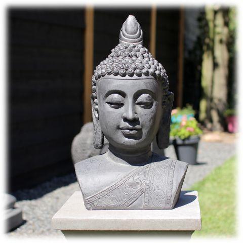 Tuinbeeld Boeddha buste M donker