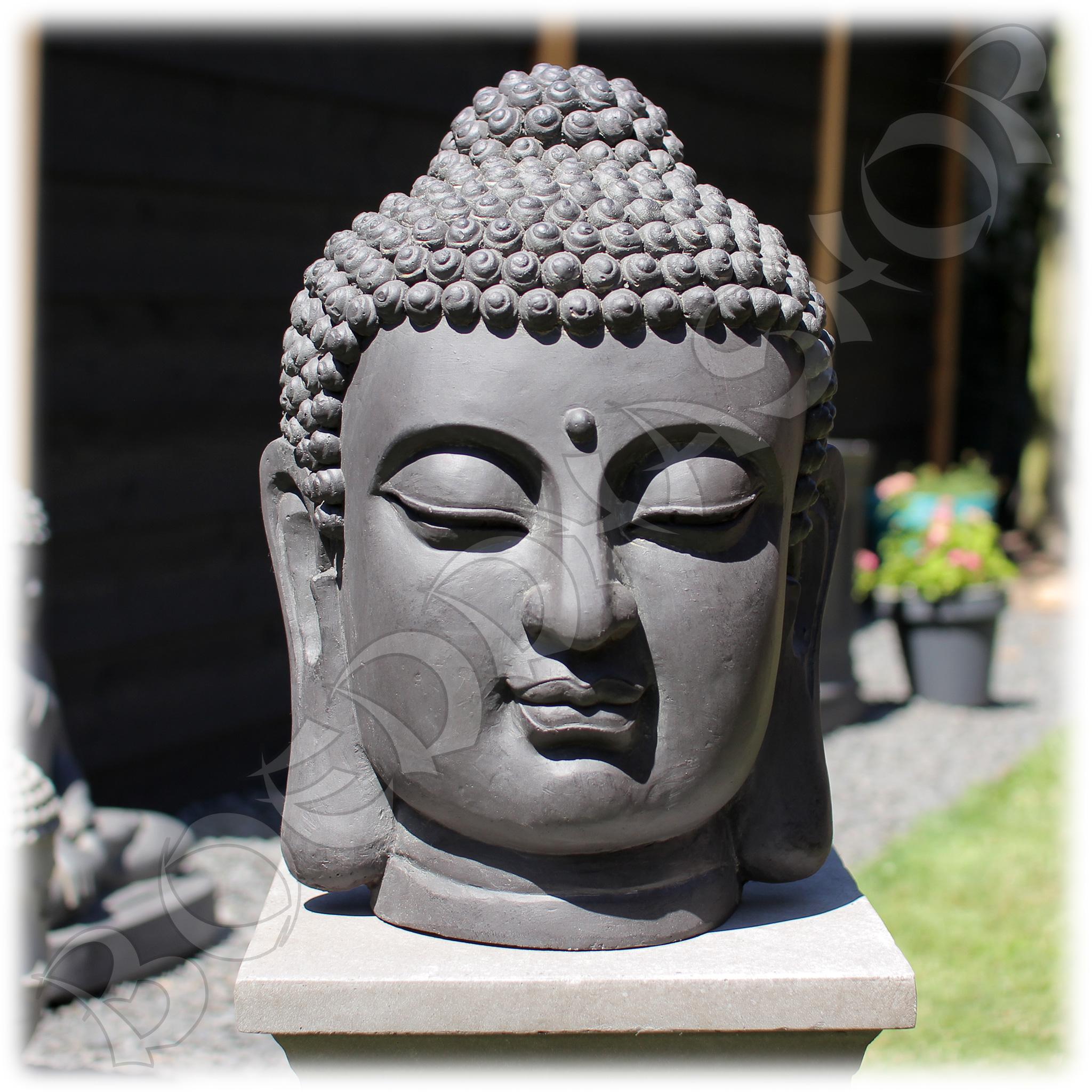 Tuinbeeld Boeddha hoofd #2 M donker