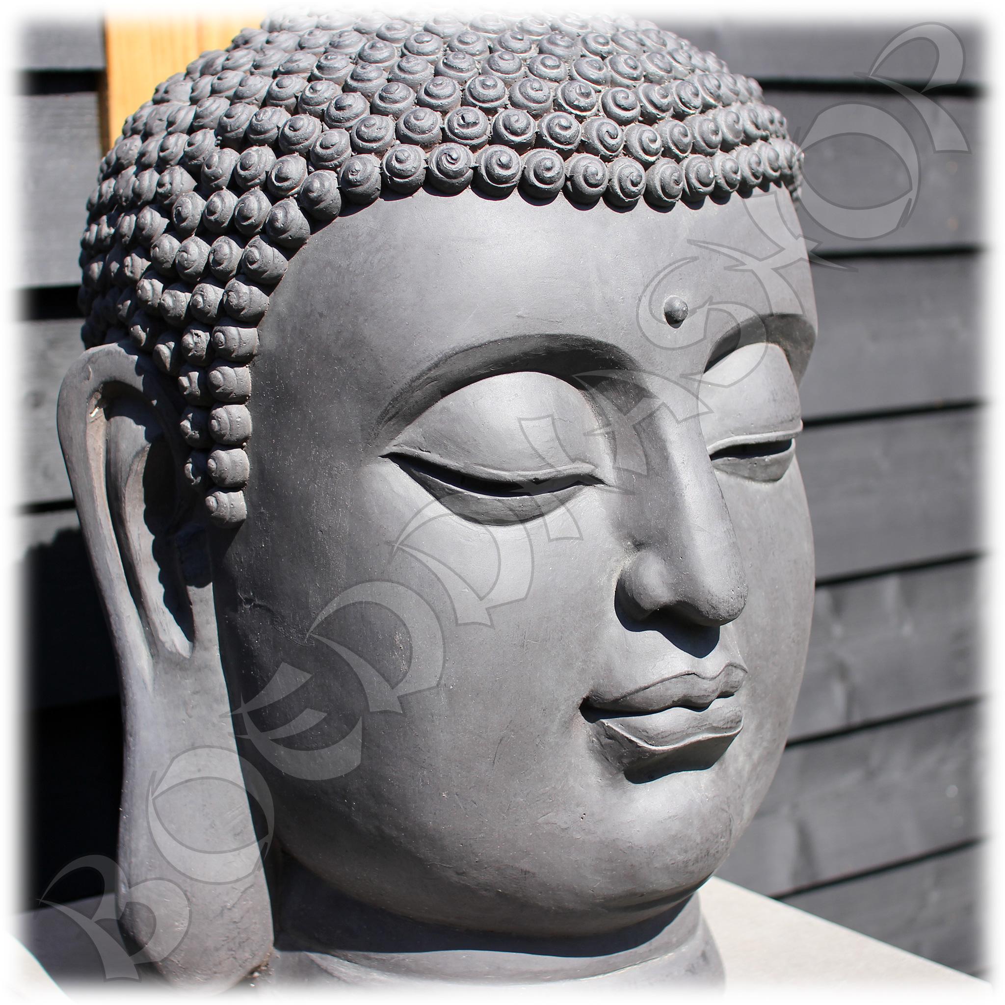 Tuinbeeld Boeddha hoofd XL donker