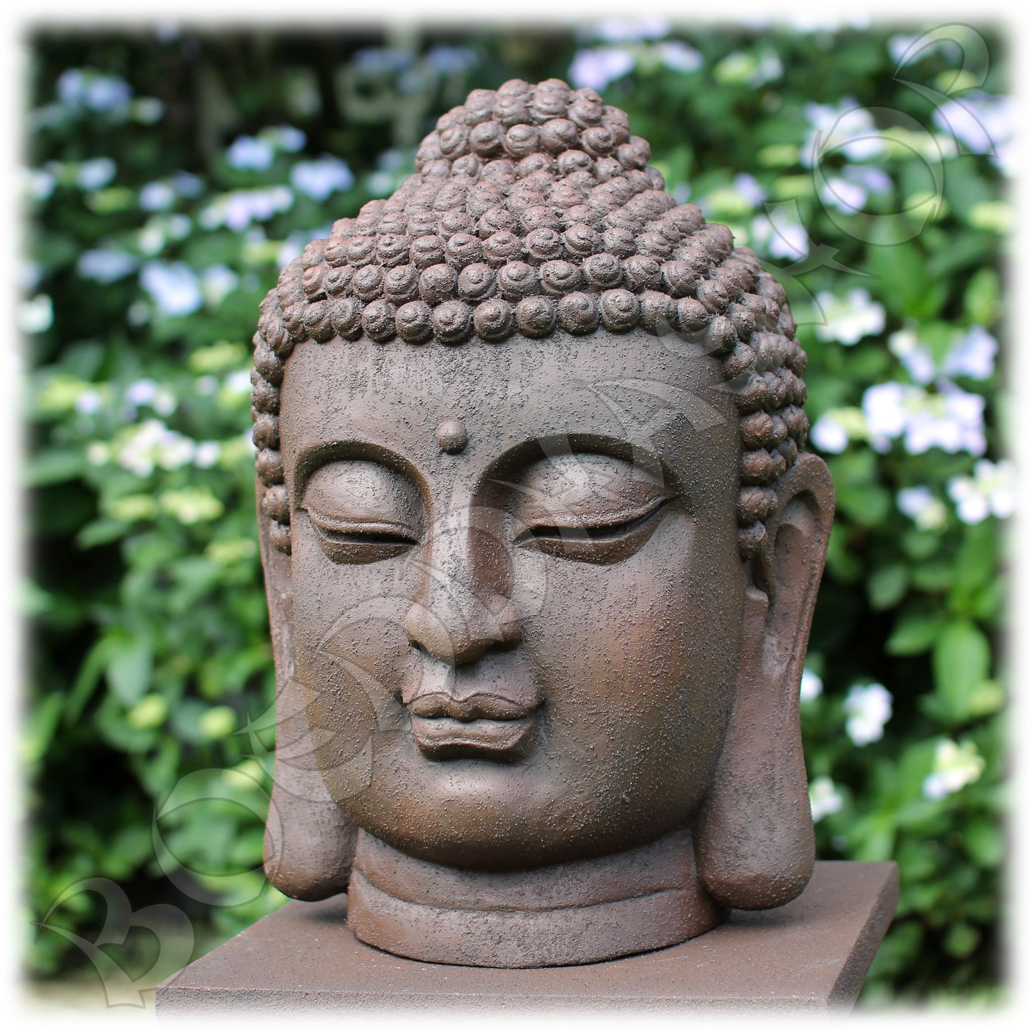Tuinbeeld Boeddha hoofd M rustiek