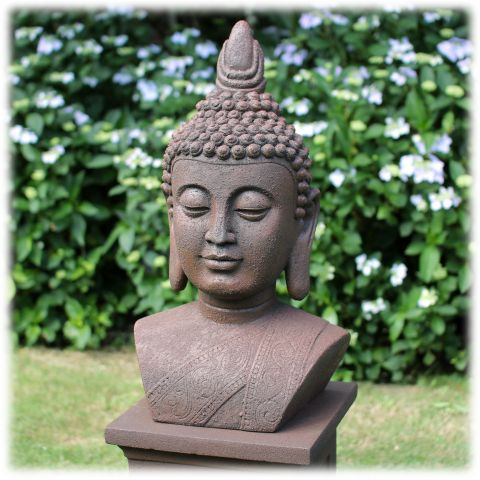 Tuinbeeld Boeddha buste L rustiek