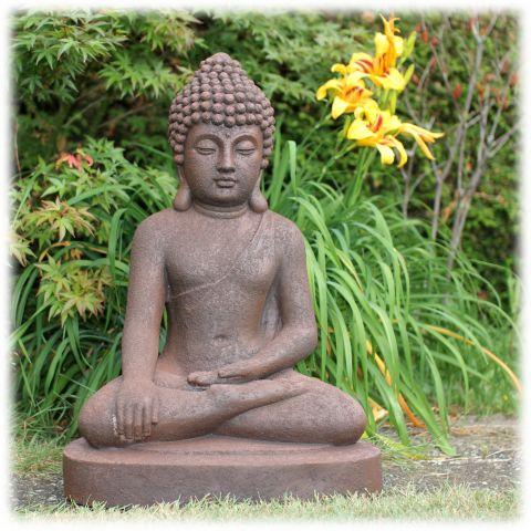 Boeddha tuinbeeld bhumisparsha L rustiek