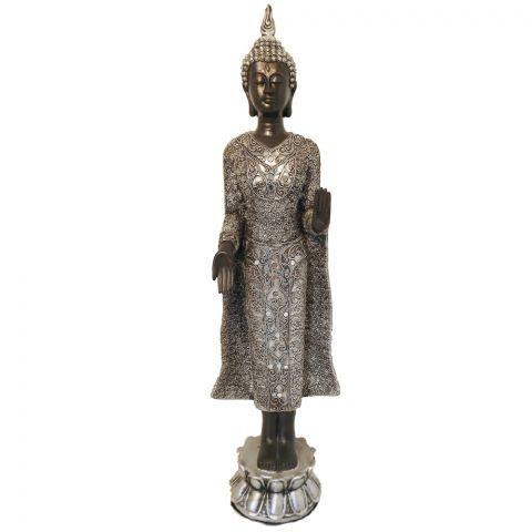 Staande Thaise Boeddha zwart/zilver