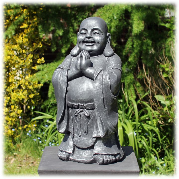 Staande Happy Boeddha groetend zilver
