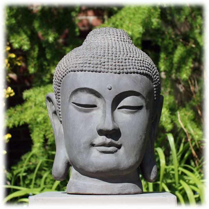 Tuinbeeld Japans Boeddha hoofd M donker