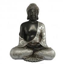 Boeddha meditatie zilver/zwart