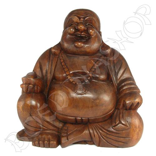 Grote houten Happy Boeddha
