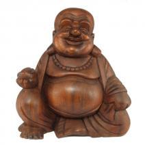 Middelgroot houten Happy Boeddha