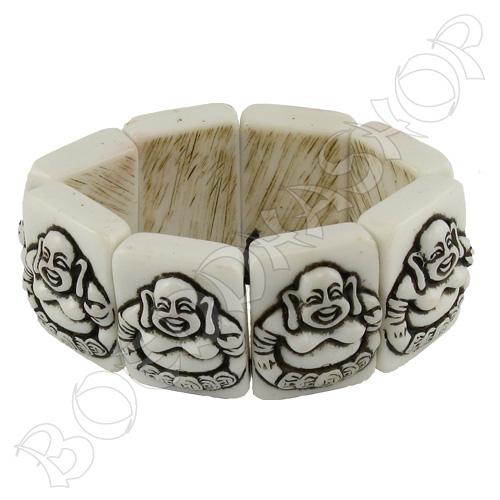 Armband Happy Boeddha wit