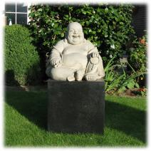 Tuinbeeld Happy Boeddha L licht