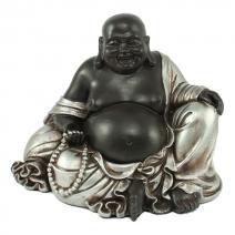 Happy Boeddha zwart/zilver