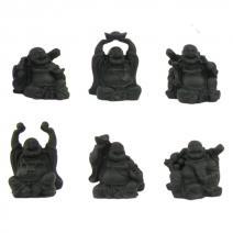 Set zwarte zittende Boeddha's