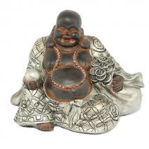 Chinese Boeddha zwart/zilver S