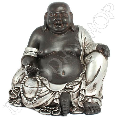 Happy Boeddha zwart/zilver L