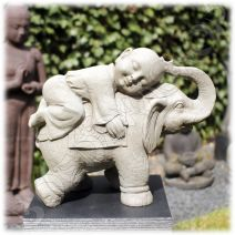 Kind monnik op olifant