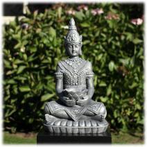 Boeddha met lotusschaal zilver