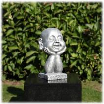 Happy Boeddha op handen zilver