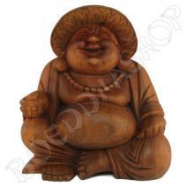 Houten happy Boeddha met hoed