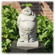 Staande Happy Boeddha grijs