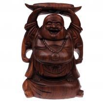 Houten Happy Boeddha met goudklomp