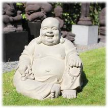 Tuinbeeld Happy Boeddha grijs XL