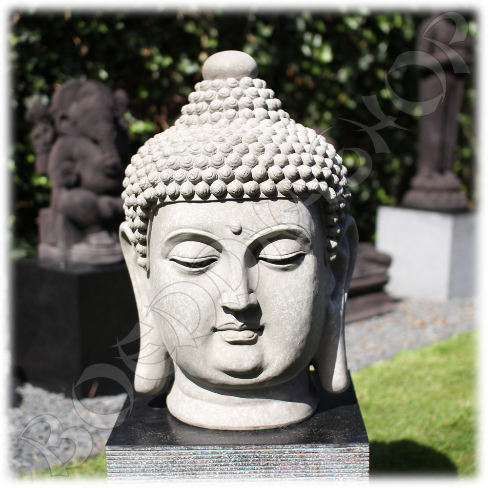 Tuinbeeld Boeddha hoofd clayfibre groot