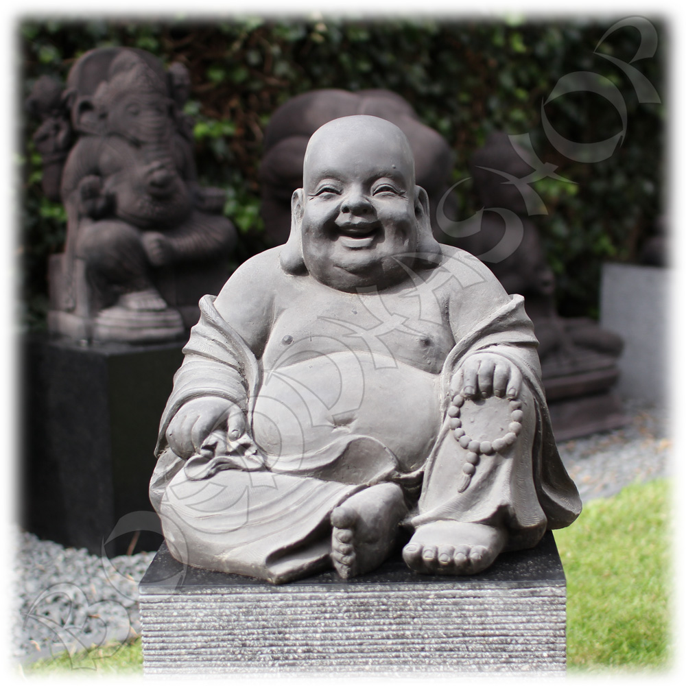 Tuinbeeld Happy Boeddha L donker