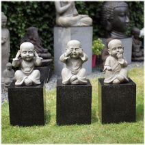 Set monniken Horen Zien Zwijgen grijs L