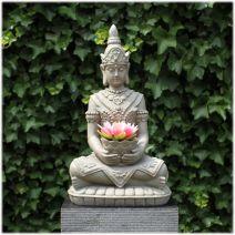 Boeddha met lotusschaal grijs