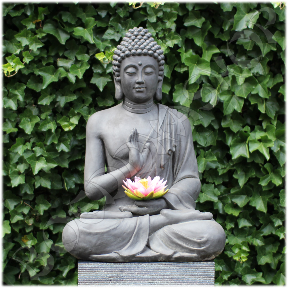 Tuinbeeld Boeddha namaskara donker XL