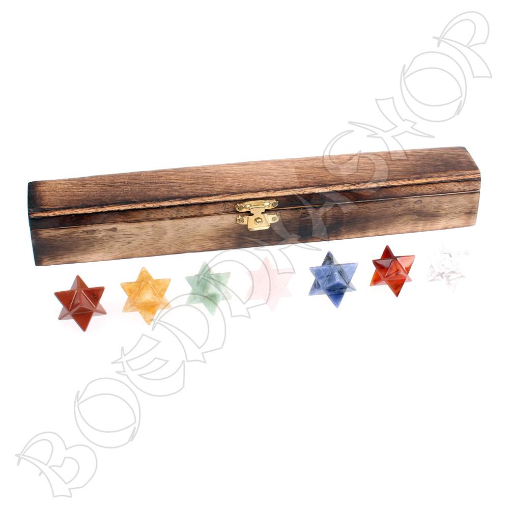 7 Chakra edelsteen Merkaba's in kistje