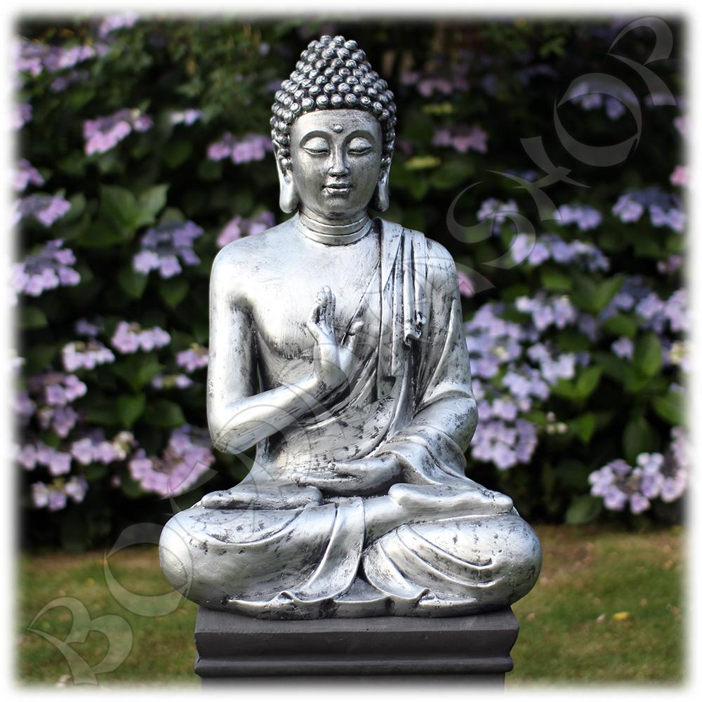 Tuinbeeld Boeddha namaskara zilver XL
