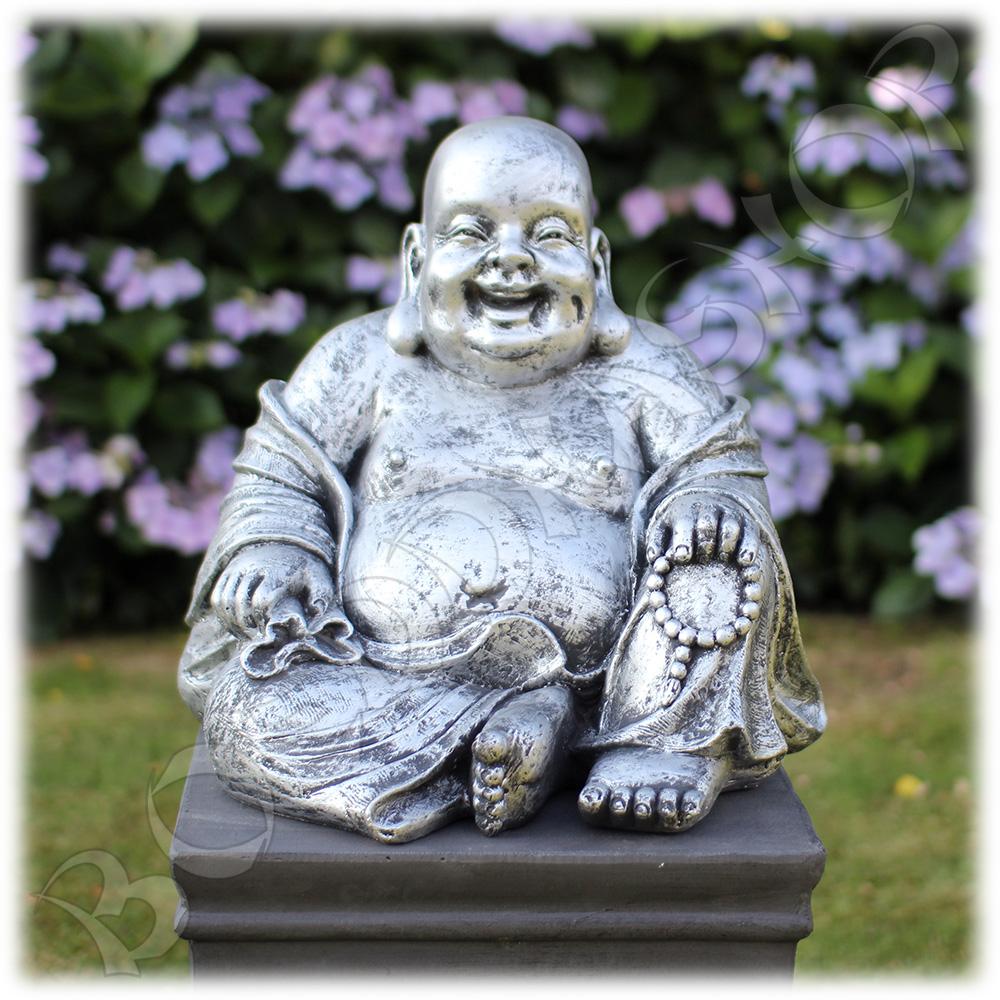 Tuinbeeld Happy Boeddha zilver