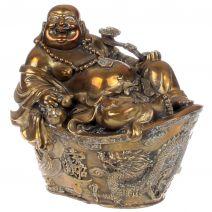 Koperen Boeddha op goudklomp