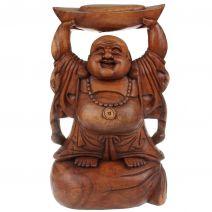 Houten Happy Boeddha met goudklomp 40cm