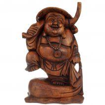 Houten Happy Boeddha met juk 40cm
