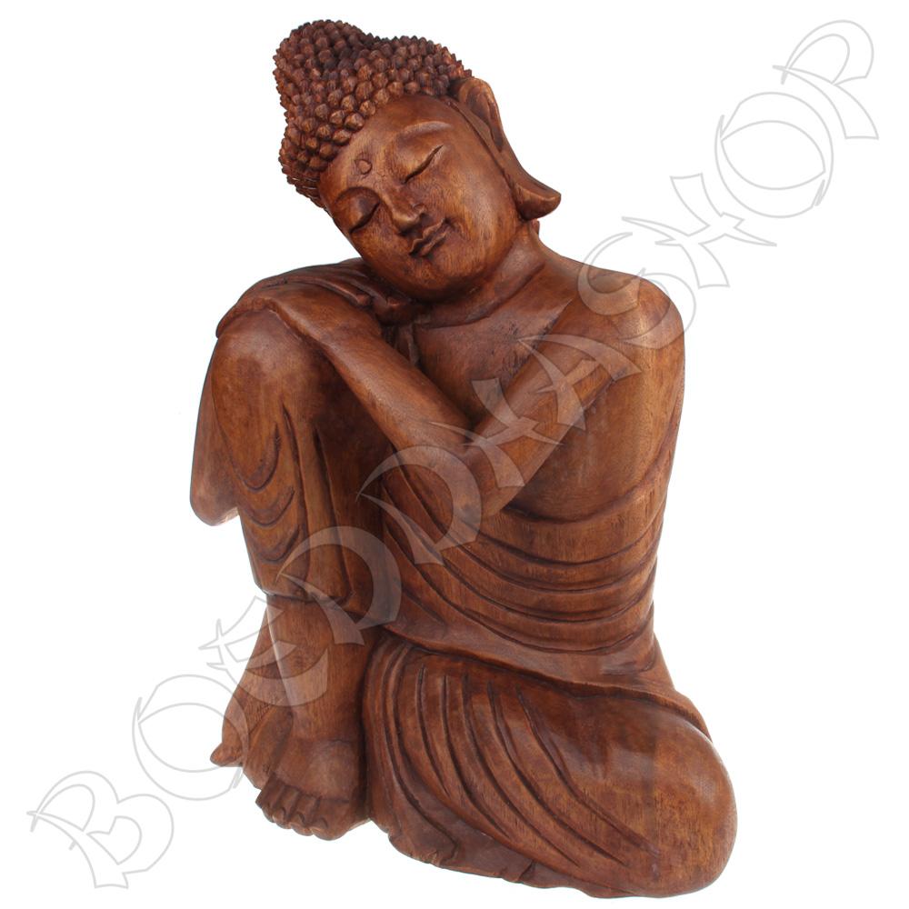 Slapende Indische Boeddha hout 40cm