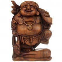 Houten Happy Boeddha met juk 30cm