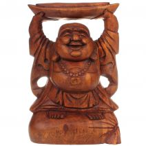 Houten Happy Boeddha met goudklomp 20cm