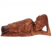Liggende Indische Boeddha hout 30cm