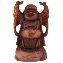 Houten Happy Boeddha hotei met parels 50cm
