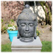 Tuinbeeld Boeddha hoofd clayfibre M donker