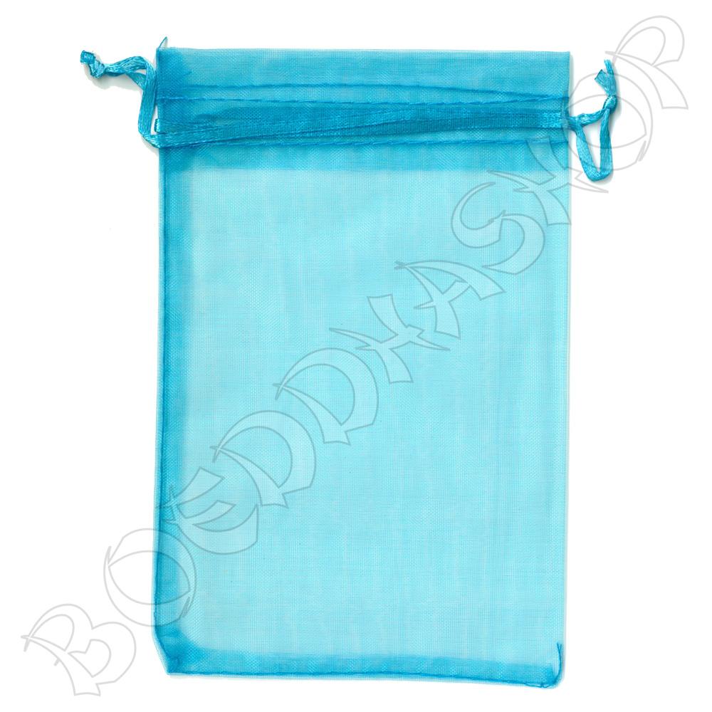 Organza zakjes 10x15 cm turquoise