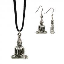 Set Boeddha oorbellen + ketting