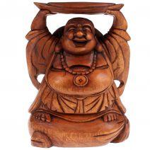 Houten happy Boeddha met goudklomp 25cm